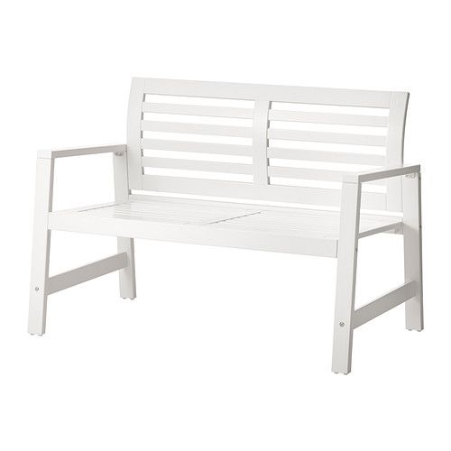 IKEA - ÄPPLARÖ, Bench with backrest, outdoor, white, , , You can make your bench more comfortable and personal by adding a cushion in a style you like.For added durability and to make the furniture look new and fresh longer, it has been pre-treated with several layers of opaque paint which coats the surface with a thick and protective film.