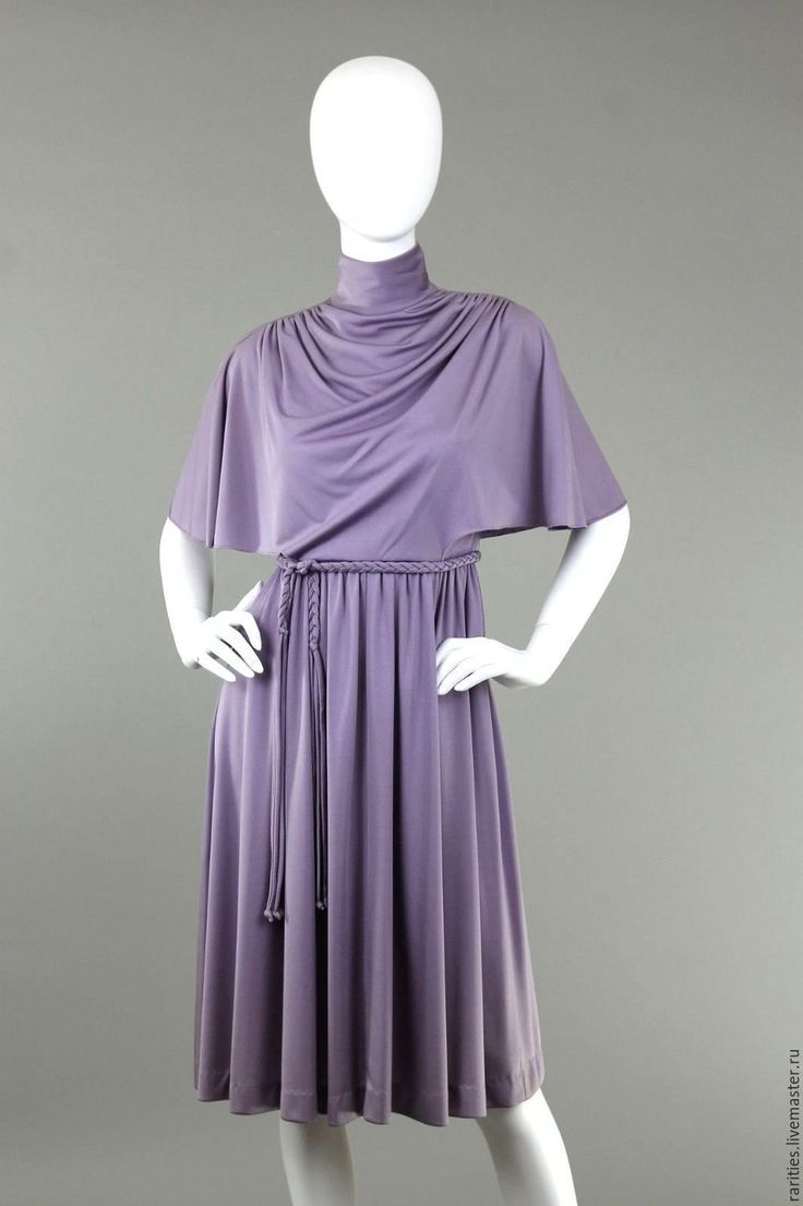 Купить Платье Лавандовое,70ые годы,Gail Gray,США,полиэстер,винтажная одежда