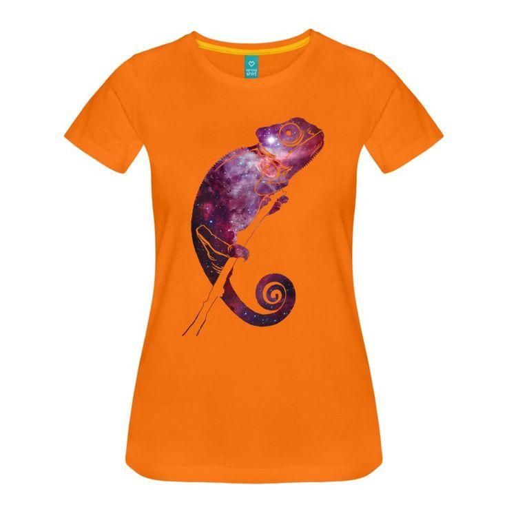Hvit Galaxy Chameleon T-skjorter - Premium T-skjorte for kvinner