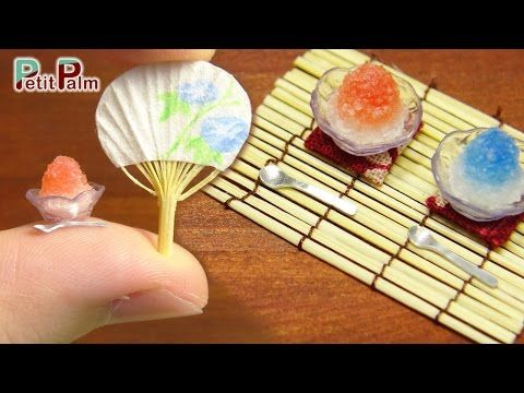 DIY How to make Miniature Japanese Shaved ice & paper fan - Petit Palm - YouTube