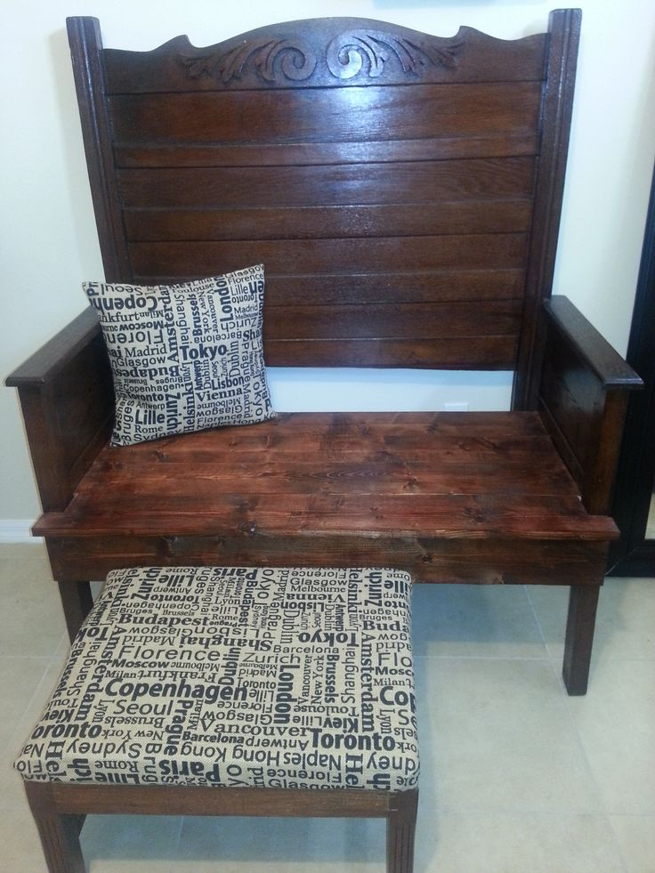 Bench made out of a headboard and foot board $399  Ottoman $99