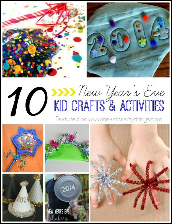 10 New Year's Eve Kid Crafts and Activities to help celebrate the New Year. From iheartcraftythings.com
