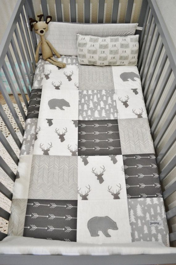 Woodland Blanket Baby Patchwork Quilt by SleepingLakeDesigns