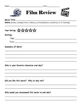 A simple film review sheet to accompany any movie-watching experience.