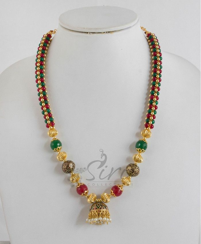 Jaali maala in small onyx with Jhumki pendant. Length- 15 inch, adjustable rings-4.5 inch, pendant-0.85 inch approx