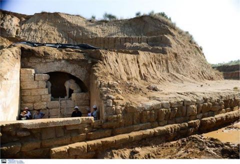 Archaeologists excavating a massive Hellenistic tomb in Northern Greece say they will not remove the two sphinx sculptures that are guarding the entrance. (2014)