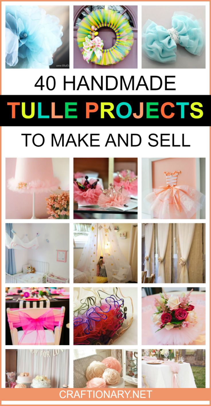 Handmade tulle projects to make and sell from home #tullefabric #netting