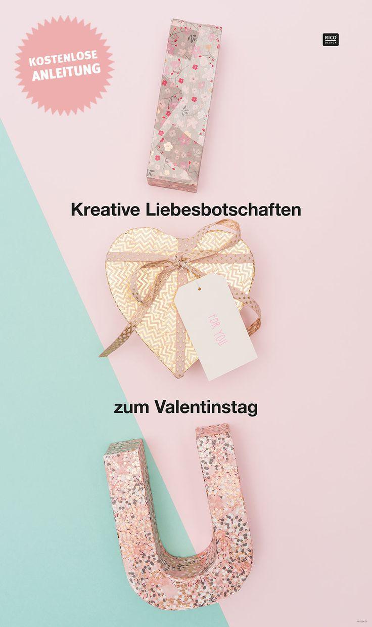 """Geschenkidee für Valentinstag: sag """"ich liebe dich"""" mit dieser tollen Geschenkverpackung. Das Herz ist eine Pappbox in der ein kleines Geschenk verstaut werden kann. Die Pappbuchstaben können wunderbar mit PhotoPatch  bzw. Decopatch Papieren verziert werden. Auch eine tolle Deko für euer Zuhause. #anleitung #diy #dekoration"""