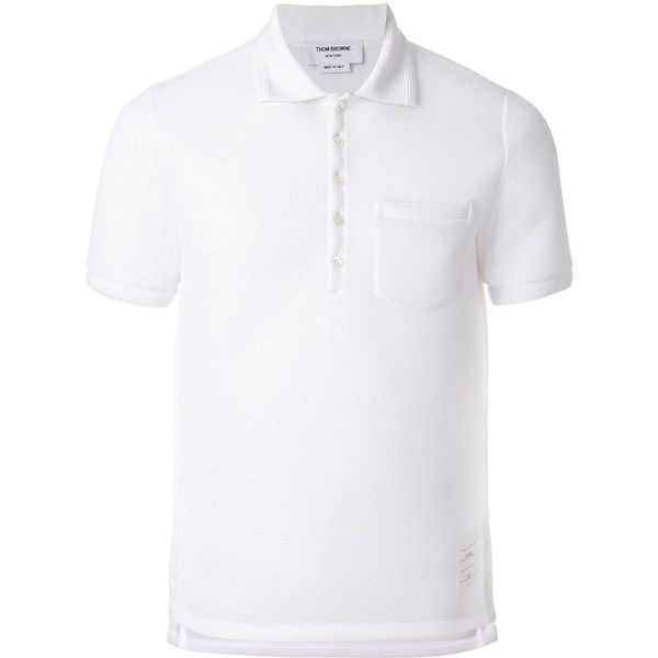 Thom Browne x Colette polo shirt ($495) ❤ liked on Polyvore featuring men's fashion, men's clothing, men's shirts, men's polos, white, mens short sleeve polo shirts, mens white polo shirt, mens tailored shirts, mens polo collar shirts and mens formal shirts