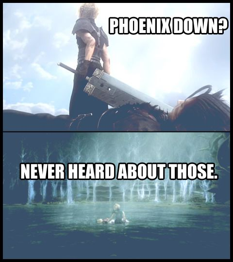 Cloud and Aeris Aerith what is a phoenix down anyway? final fantasy 7 advent children ff7