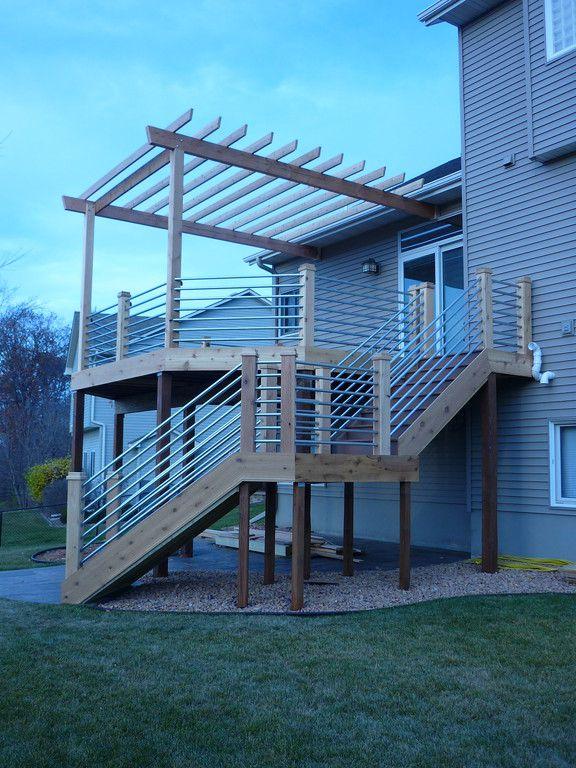 Galvanized pipe deck rail   House   Pinterest