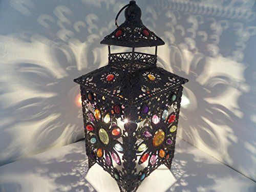 Stunning Moroccan Style Vintage Jeweled Cutwork Bronze Flower Table Lamp With Multi Coloured Acrylic Beads