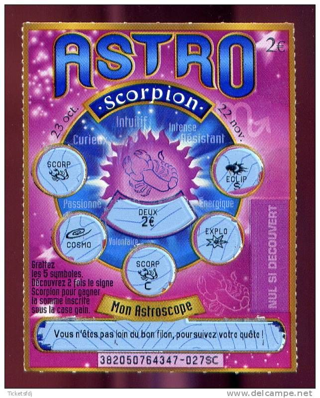FRANCAISE DES JEUX - ASTRO 38205 sans SAEM - SCORPION - trait bleu - gagnant