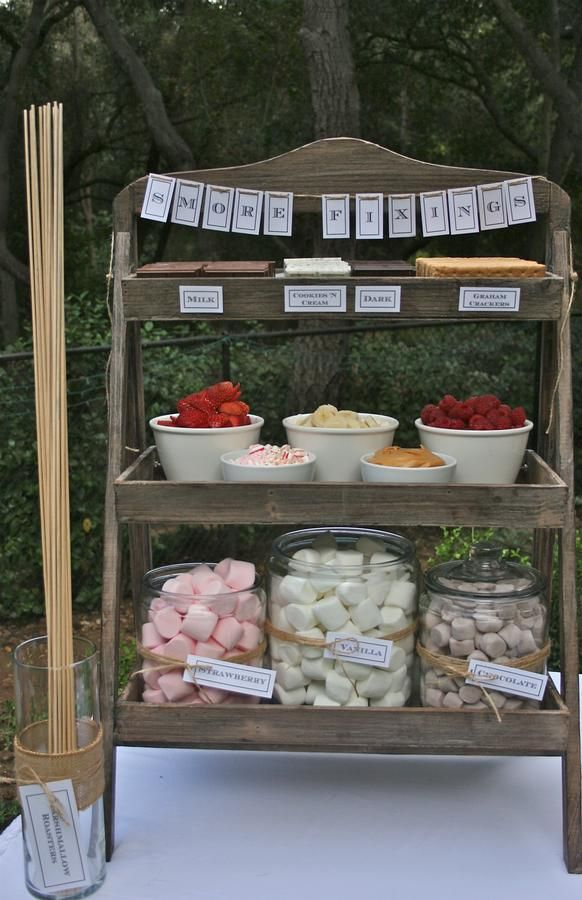 smores fixins station! plus more camping/outdoorsie themed wedding food. | I think I like the idea more than the reality of everyone touching the stuff