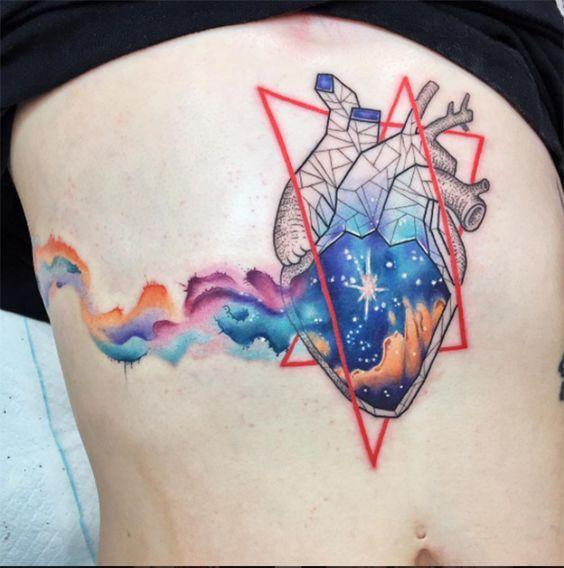 Watercolor heart tattoo | www.otziapp.com | Watercolor | Watercolor heart tattoos, Surreal tattoo, Anatomy tattoo