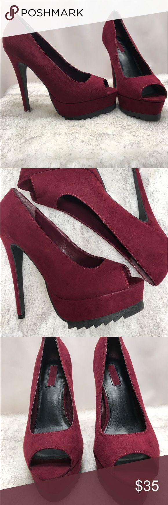 Maroon Pump Up High Heels Worn Once, soft feel, forever 21 brand, very cute for everyday look. Can't wear them now cause I'm pregnant ☺️ Forever 21 Shoes Heels