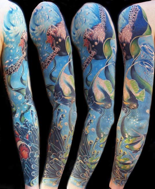 "Seaworld full arm - 1st price ""Best of colors"" on the Rome Tattoo Convention 2011"