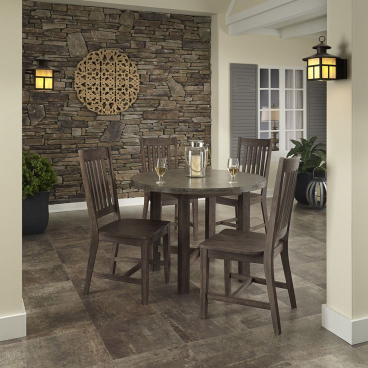 Home Styles Concrete Chic 5-piece Dining Set (Dining Set), Brown, Size 5-Piece Sets