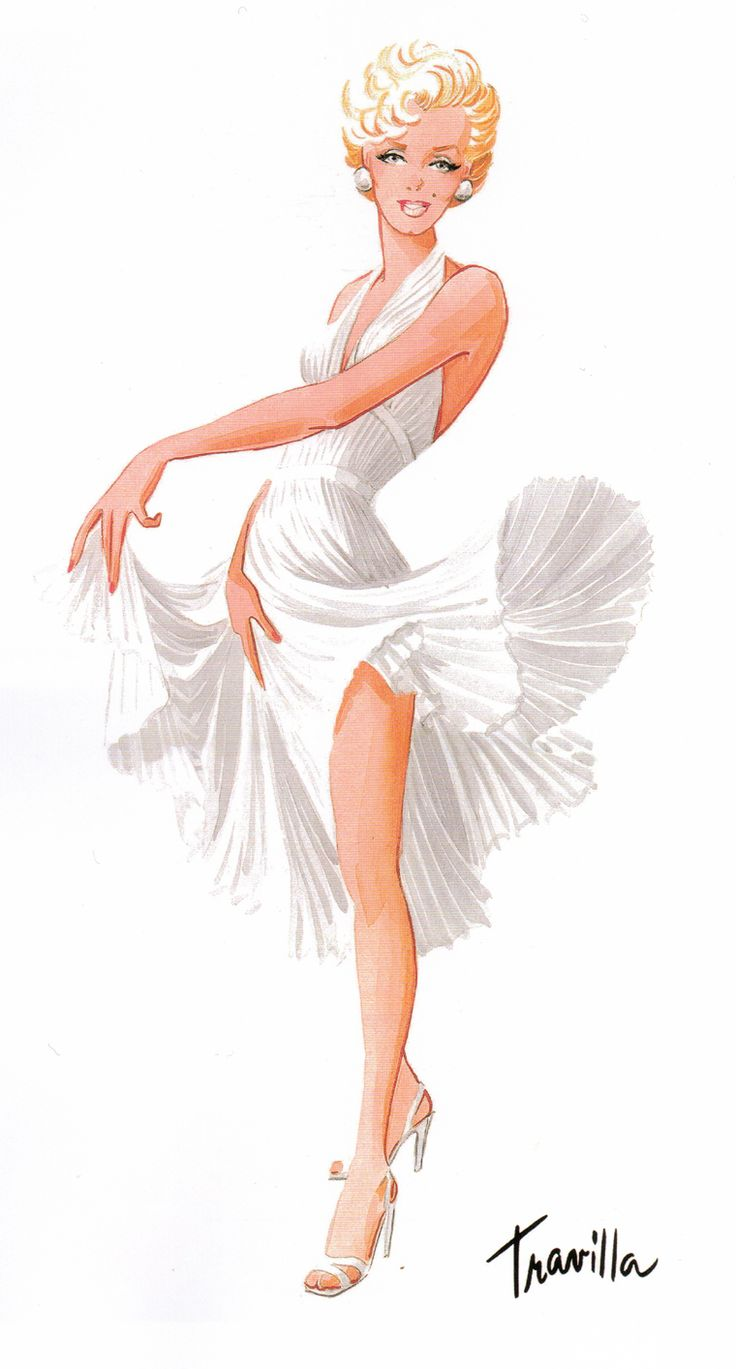 "Travilla costume sketch for Marilyn Monroe's ""Subway"" dress in The Seven Year Itch (1955)"