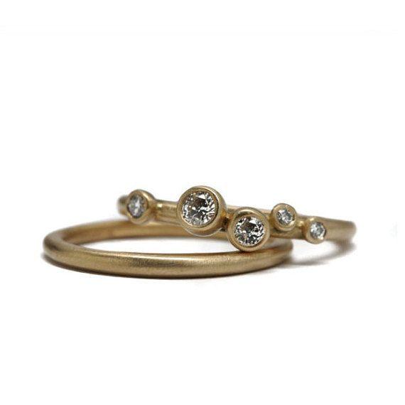 5 diamond pebble ring stacking set | 18k gold | engagement and wedding ring set