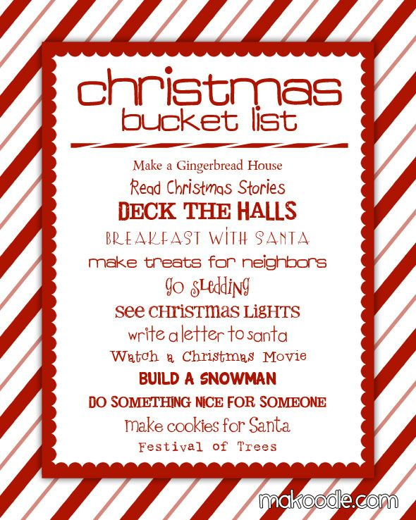 25+ unique Christmas bucket lists ideas on Pinterest Winter - christmas to do list template