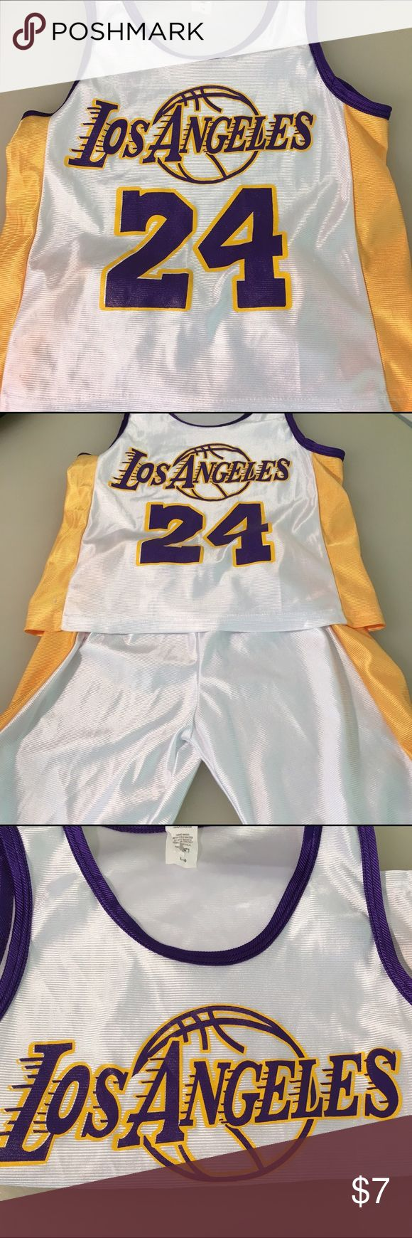 Boys Los Angeles Laker Kobe Bryant uniform There's always next year Laker fans but don't despair this adorable boys large 8 uniform with number 24 Kobe Bryant might help you get through the pain! Matching Sets