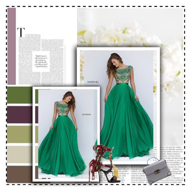"""""""Long Chiffon Skirt Sherri Hill 11332 Emerald Homecoming Dress"""" by xipowuriluh on Polyvore featuring Dsquared2, Mixit, dress and Homecoming"""