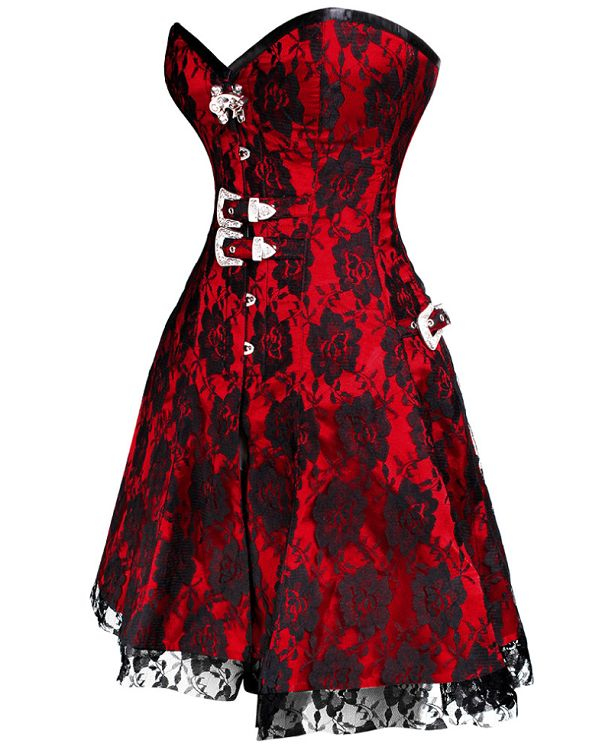 £85.00 US $129.27 Red Corset Dress | UK Corsets that ship worldwide.