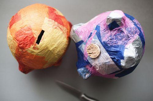 paper mache' piggy banks. http://www.helpmetosave.com/2012/02/piggy-bank/