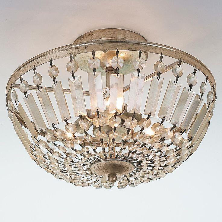 Antiqued Crystal Basket Semi Flush Ceiling Light Antiqued