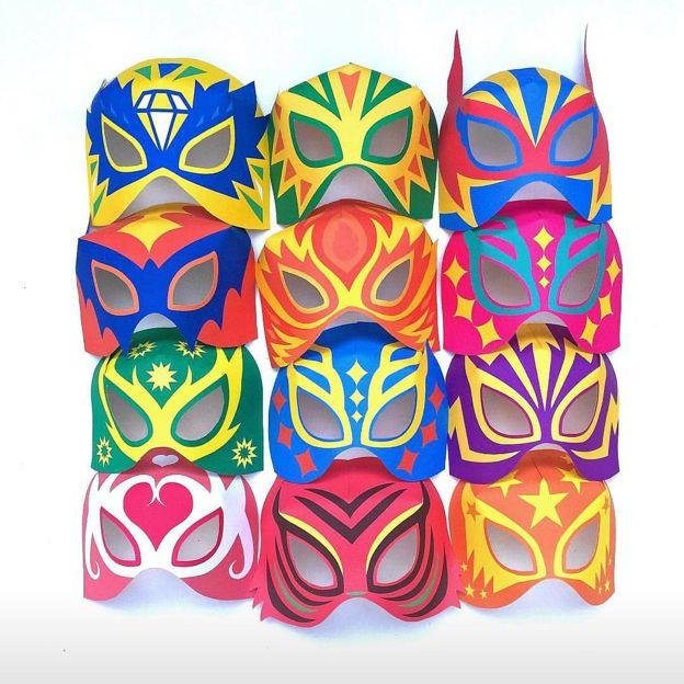 Lucha libre masks! Perfect for a Cinco de Mayo party. Printable templates by happythought.co.uk