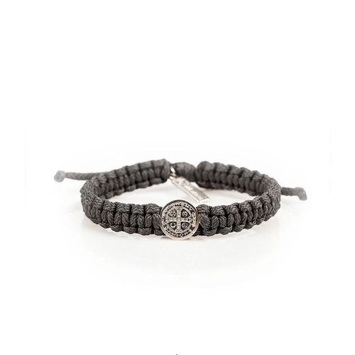 Silver and Gray One Blessing Mens Cord Bracelet