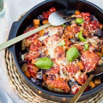 Italian herb chicken and pumpkin bake