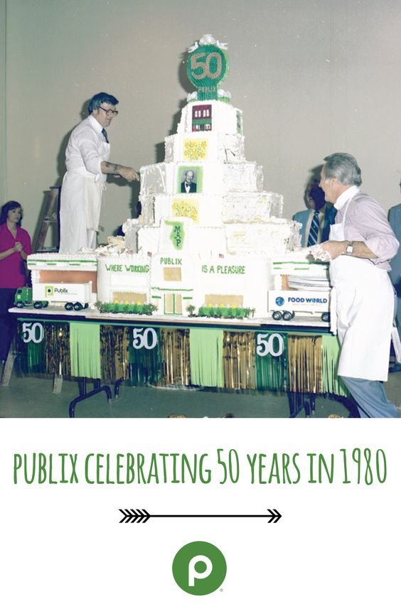Publix 50-year anniversary cake: If you look closely at this giant masterpiece, you'll see an image of the first store, located in Winter Haven, Fla., at the top.