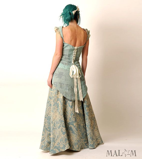Recycled Eco Wedding Gown with swallowtail laceup  light by Malam, €1435.00