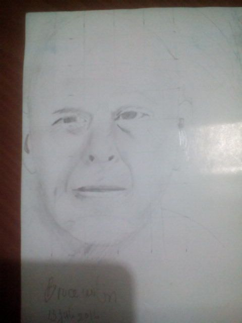 Bruce willis portrait pencil drawing