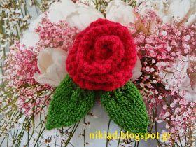 Τριαντάφυλλα πλεκτά με βελόνες  Knitted roses   Επισκεφτείτε την ετικέτα : πλέξιμο με βελόνες  Visit the label : knitting                ...
