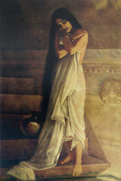 At the Bath - Raja Ravi Varma