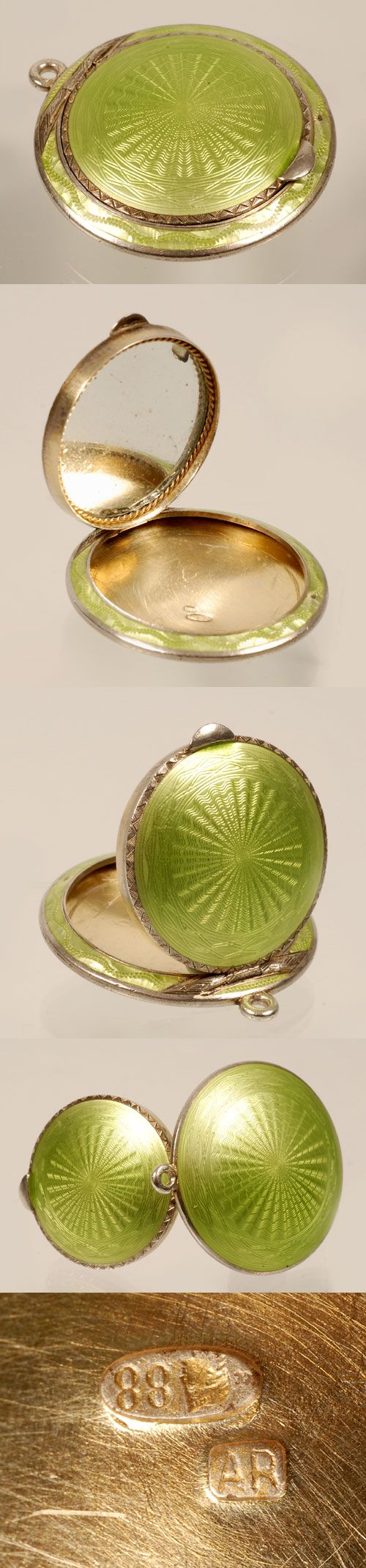 A Faberge silver gilt and guilloche enamel compact, Anna Ringe, St. Petersburg, 1908-1917. The low profile circular case enameled in an apple green ober radiating engine-turned ground, the circular hinged lid fitted with mirror