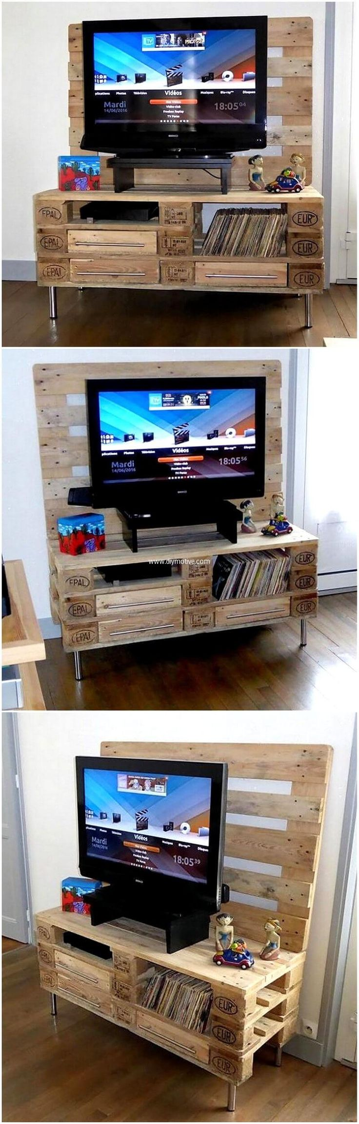 In need of a better and unique furniture ideas for your living area? Here we go providing you an idea to create a package containing masterpieces by recycling wood pallets. Awesome idea for pallets wood made living room pallet TV stand is being presented here that fill your room with natural feel and classy look. The overall presentation of this package will let you in the state of being engrossed. It is a wise decision to implement this re-transformed wood pallet living room furniture idea