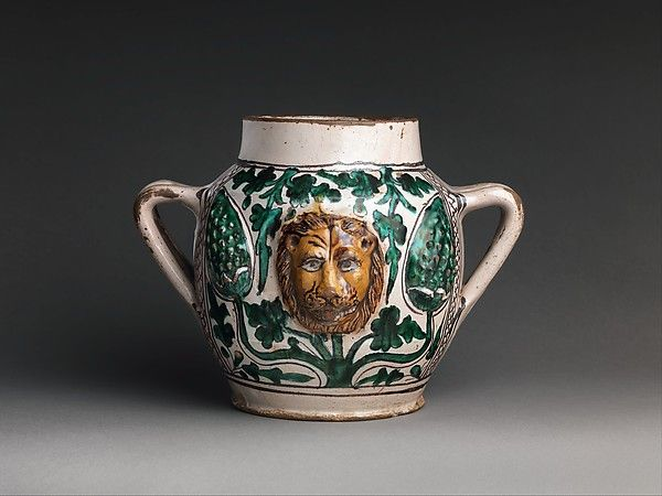 Two Handled Jar With Lions Heads Date Early 15th Century Geography Made