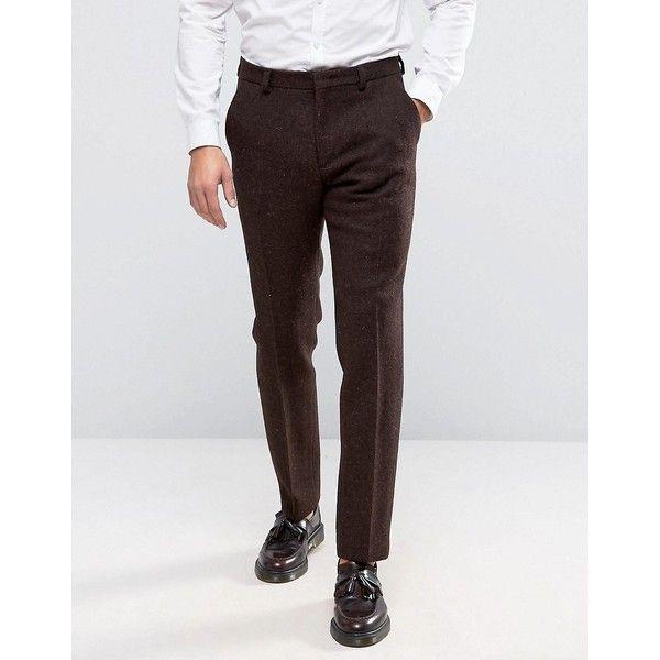 ASOS Slim Suit Trousers In Brown Harris Tweed 100% Wool ($89) ❤ liked on Polyvore featuring men's fashion, men's clothing, men's pants, men's dress pants, brown, mens slim fit wool pants, tall mens pants, mens slim pants, mens slim fit wool dress pants and tall mens dress pants