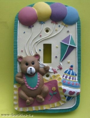 VINTAGE NEW TEDDY BEAR SINGLE TOGGLE RETRO LIGHT SWITCH PLATE COVER