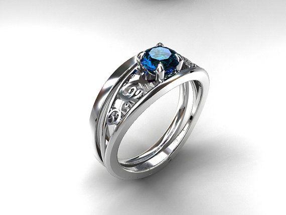 Celui Engagement Ring Set with London Blue Topaz