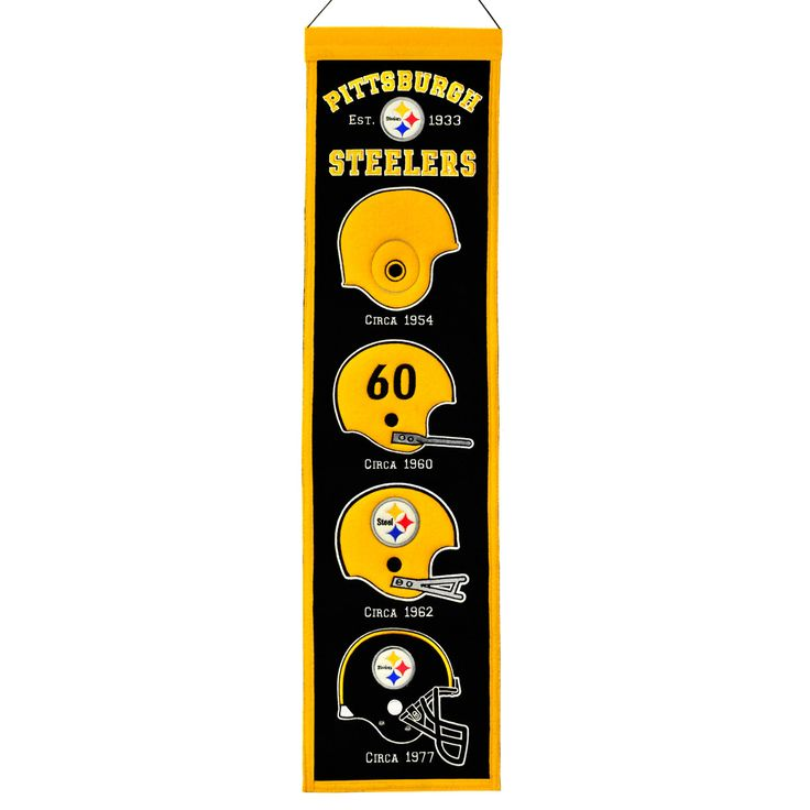 """This beautifully embroidered 8"""" x 32"""" wool banner tracks the evolution of the Pittsburgh Steelers team mascot/logo over the years. This banner is constructed with applique and embroidery and includes a hanging rod and cord."""