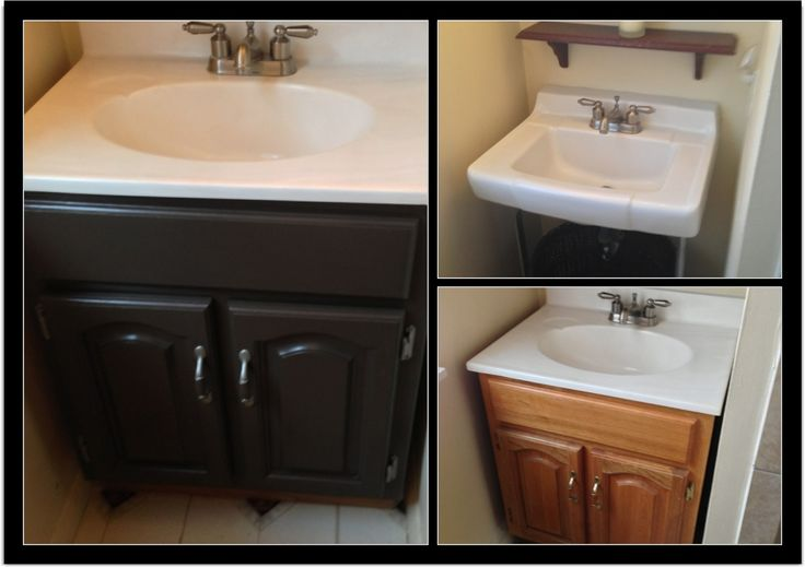 My diy project top right before bottom right used vanity and sink sand prime Used bathroom vanity with sink