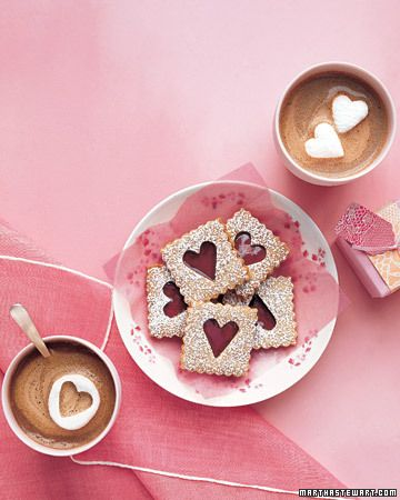 Linzer Cookies with Cherry Filling: Desserts Recipe, Linzer Cookies, Cherries Fillings, Valentines Cookies, Heart Cookies, Valentines Day, Cookies Recipe, Hot Chocolates, Pecans Linzer