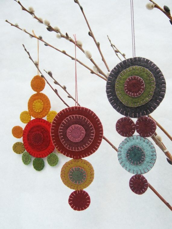 wool penny ornaments