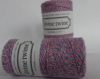 Poste aérienne Divine ficelle Bakers Twine (10 verges) Articles de fête, String coton, boulangers ficelle, rouge blanc bleu, String, la ficelle Divine