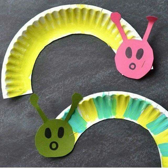Paper plate caterpillar craft.